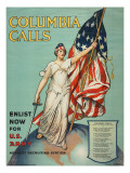 """""""Columbia Calls: Enlist Now For the U.S. Army"""", 1916 Premium Giclee Print by Frances Adams Halsted"""