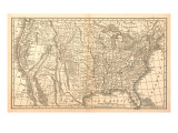 United States Map, 1849 Giclee Print