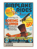 """Airplane Rides: Featuring the Boeing Clipper, America's Largest Trimotor"", 1929 Giclee Print"