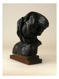 Bronze Bust Depicts a Native American Man with His Head Tilted Down Giclee Print by James Wehn