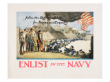 """Enlist in the Navy: Follow the Boys in Blue For Home and Country"", 1918 Giclee Print by George Wright"