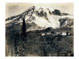 Mount Rainier with Paradise Inn in Foreground, 1922 Giclee Print by Asahel Curtis