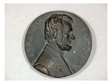 Medallion Made of Plaster Depicts Abraham Lincoln in Low Relief Giclee Print by James Wehn