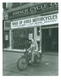 Man on Harley Davidson Motocycle at Hirsch Cycle Co., 1927 Premium Giclee Print by Chapin Bowen