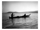 Two Native Americans with Canoe, Circa 1906 Giclee Print by Asahel Curtis