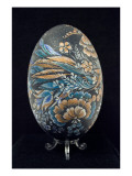 Painted Egg with Floral Motifs Giclee Print by Oleksandra Pryveda