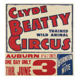 """Clyde Beatty Trained Wild Animal Circus"", 1935 Giclee Print"