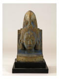 Sculpture Depicts Head of Aztec Man Wearing an Elaborate Headdress Giclee Print by James Wehn