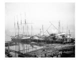Ships Loading Timber at Docks, Seattle, 1916 Giclee Print by Asahel Curtis