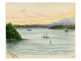 View of the Sound From Seattle Giclee Print by Alfred Downing