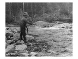 Fishing on the Elwha, Olympic Peninsula, Undated Giclee Print by Asahel Curtis