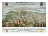"""Authorized Birds Eye View of the Alaska-Yukon-Pacific Exposition: Seattle, USA, 1909"" Giclee Print"