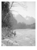 Skyskomish River Fishing, 1906 Giclee Print by Asahel Curtis
