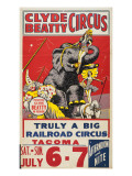 """Clyde Beatty Circus; Truly Big Railroad Circus"", 1935 Premium Giclee Print"