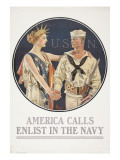 """America Calls, Enlist in the Navy"" Poster, 1917 Giclee Print by Joseph Christian Leyendecker"