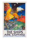 """""""The Ships Are Coming!"""", 1918 Giclée-tryk af James Henry Daugherty"""