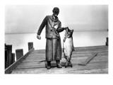 Cannery Worker with Salmon, Circa 1909 Gicléedruk van Asahel Curtis