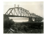 N.P. Bridge From Pasco, Circa 1922 Giclee Print by Asahel Curtis