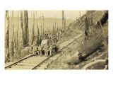 Loggers on Speeder Car Near Yacolt, WA, 1913 Giclee Print