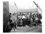Family of Snoqualmie Indians at Launching of Barge Snoqualmie, 1919 Giclee Print by Asahel Curtis