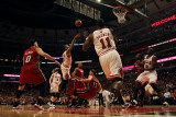 Miami Heat v Chicago Bulls - Game Two, Chicago, IL - MAY 18: Derrick Rose and Mike Miller Photographic Print by Jonathan Daniel