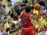 Chicago Bulls v Indiana Pacers - Game Three, Indianapolis, IN - APRIL 21: Roy Hibbert and Joakim No Photographic Print by Andy Lyons