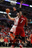 Miami Heat v Chicago Bulls - Game Two, Chicago, IL - MAY 18: Carlos Boozer and Chris Bosh Photographic Print by Gregory Shamus