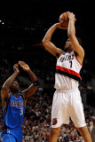 Dallas Mavericks v Portland Trail Blazers - Game Three, Portland, OR - APRIL 21: Brandon Roy and Ja Photographic Print by Jonathan Ferrey