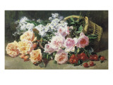 Peaches and Cherries Giclee Print by Pierre Bourgogne