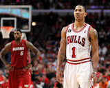 Miami Heat v Chicago Bulls - Game Two, Chicago, IL - MAY 18: Derrick Rose and LeBron James Photo by Gregory Shamus