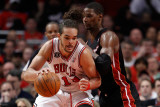Miami Heat v Chicago Bulls - Game One, Chicago, IL - MAY 15: Joakim Noah and Chris Bosh Photographic Print by Gregory Shamus