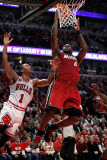 Miami Heat v Chicago Bulls - Game Two, Chicago, IL - MAY 18: LeBron James and Derrick Rose Photographic Print by Gregory Shamus
