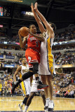 Chicago Bulls v Indiana Pacers - Game Three, Indianapolis, IN - APRIL 21: Derrick Rose and Jeff Fos Photographic Print by Andy Lyons