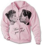 Zip Hoodie: Lucy-Desi Kiss Me (Front/Back) Felpa con cappuccio con chiusura a zip