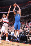 Dallas Mavericks v Portland Trail Blazers - Game Three, Portland, OR - APRIL 21: Peja Stojakovic an Photographic Print by Sam Forencich