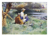 Sketching by the River Giclee Print by William Kay Blacklock