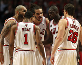 Miami Heat v Chicago Bulls - Game Two, Chicago, IL - MAY 18: Carlos Boozer, Derrick Rose, Luol Deng Photographic Print by Jonathan Daniel