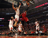 Miami Heat v Chicago Bulls - Game Two, Chicago, IL - MAY 18: Dwyane Wade and Joakim Noah Photographic Print by Jonathan Daniel