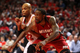 Miami Heat v Chicago Bulls - Game Two, Chicago, IL - MAY 18: Udonis Haslem and Taj Gibson Photographic Print by Jonathan Daniel
