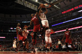 Miami Heat v Chicago Bulls - Game Two, Chicago, IL - MAY 18: Derrick Rose and Chris Bosh Photographic Print by Jonathan Daniel