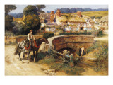 Sunlit Cottages by the Bridge Lmina gicle por Frederick Arthur Bridgman