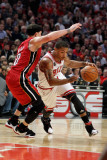 Miami Heat v Chicago Bulls - Game Two, Chicago, IL - MAY 18: Derrick Rose and Mike Bibby Photographic Print by Gregory Shamus