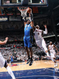 Orlando Magic v Atlanta Hawks - Game Three, Atlanta, GA - APRIL 22: Dwight Howard and Josh Smith Photographic Print by Scott Cunningham