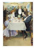 At the Restaurant Reproduction procédé giclée par Benjamin Eugene Fichel