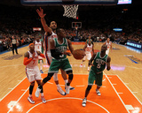 Boston Celtics v New York Knicks - Game Three, New York, NY - APRIL 22: Rajon Rondo and Jared Jeffr Photographic Print by Nick Laham