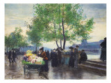 Books Sellers on the Banks of the Seine Giclee Print by Victor Gabriel Gilbert