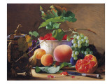 Still Life of Peaches, Pomegranates and Raspberries Giclee Print by Carl Vilhelm