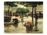 A Flower Seller Near the Louvre Giclee Print by Victor Gabriel Gilbert