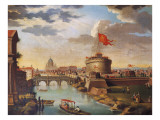 St Peter's Basilica and Castle Sant'Angelo in Rome Giclee Print by Anonymous