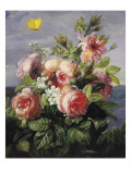 Butterflies and Roses Giclee Print by Fran&#231;ois Fr&#233;d&#233;ric Grobon